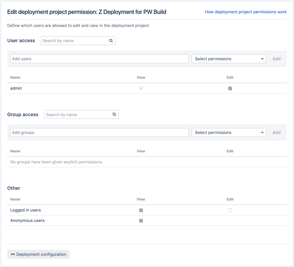 Project permissions page