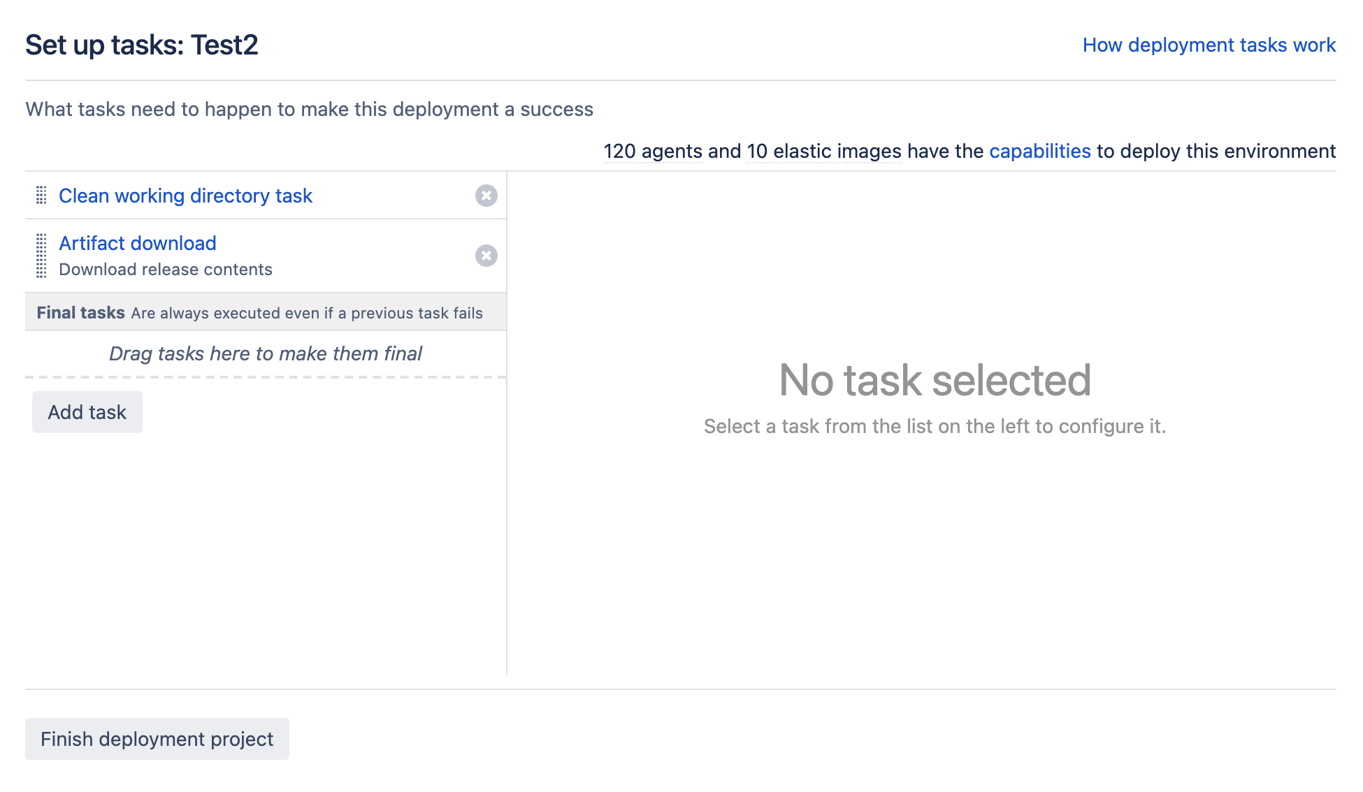 Task setup screen in deployment project environment