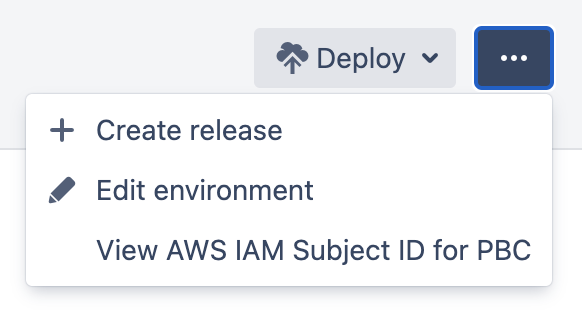 More actions menu in deployment environment