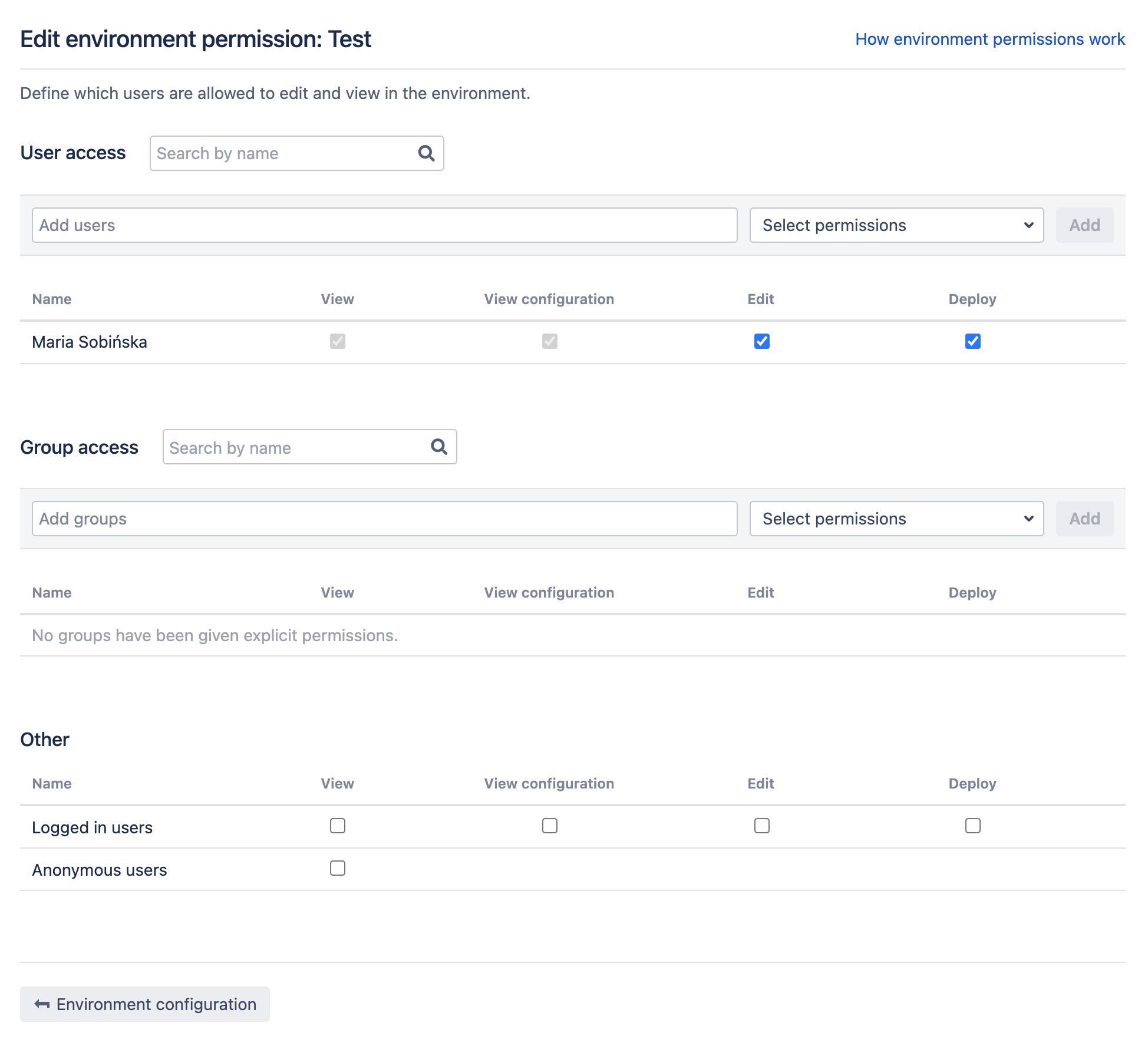 Edit environment permissions screen