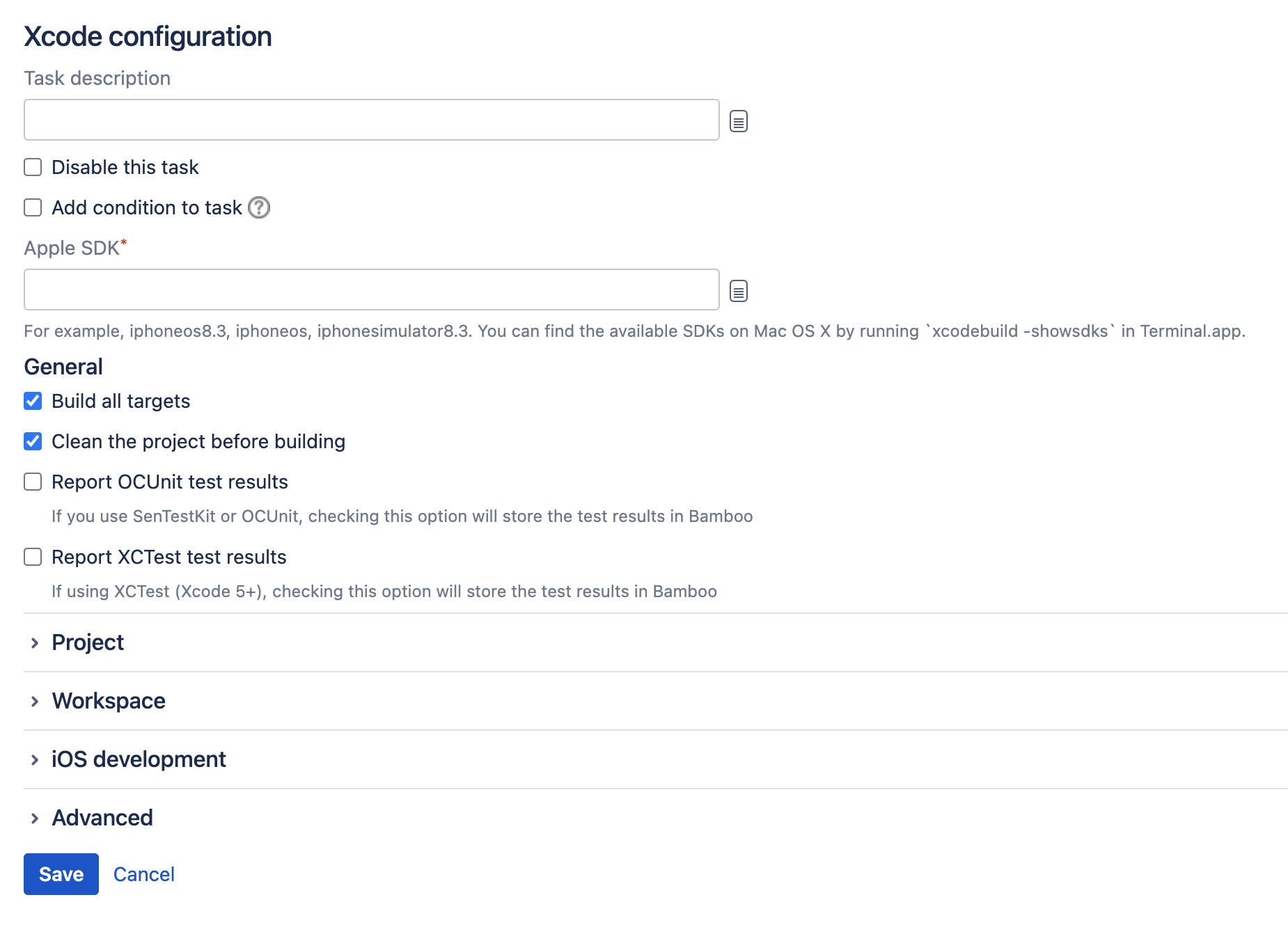 Xcode task type configuration screen