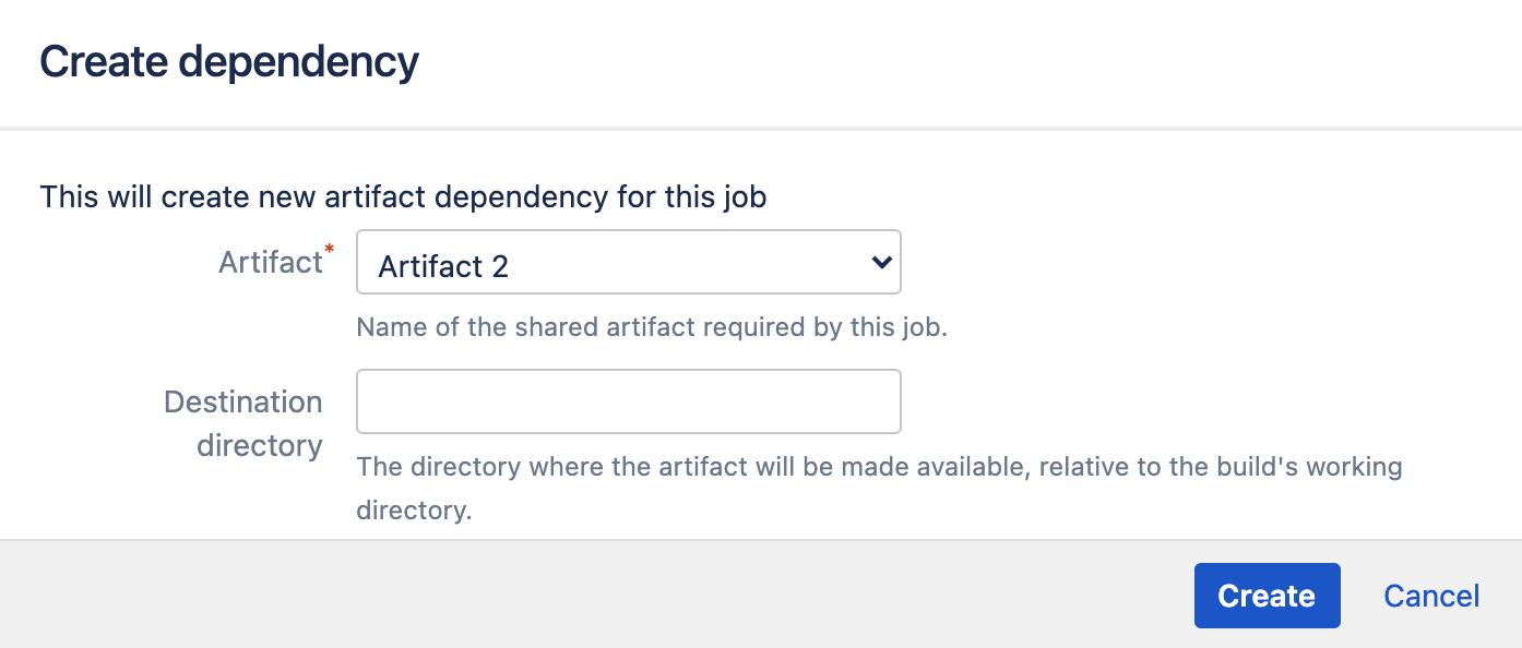 Create artifact dependency window