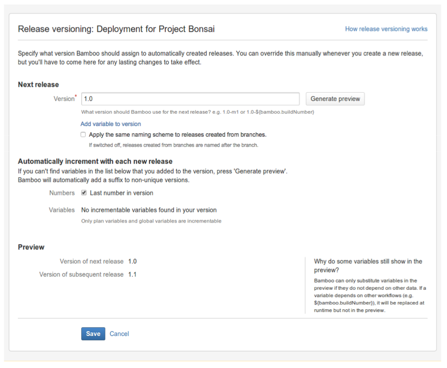 naming versions for deployment releases atlassian documentation