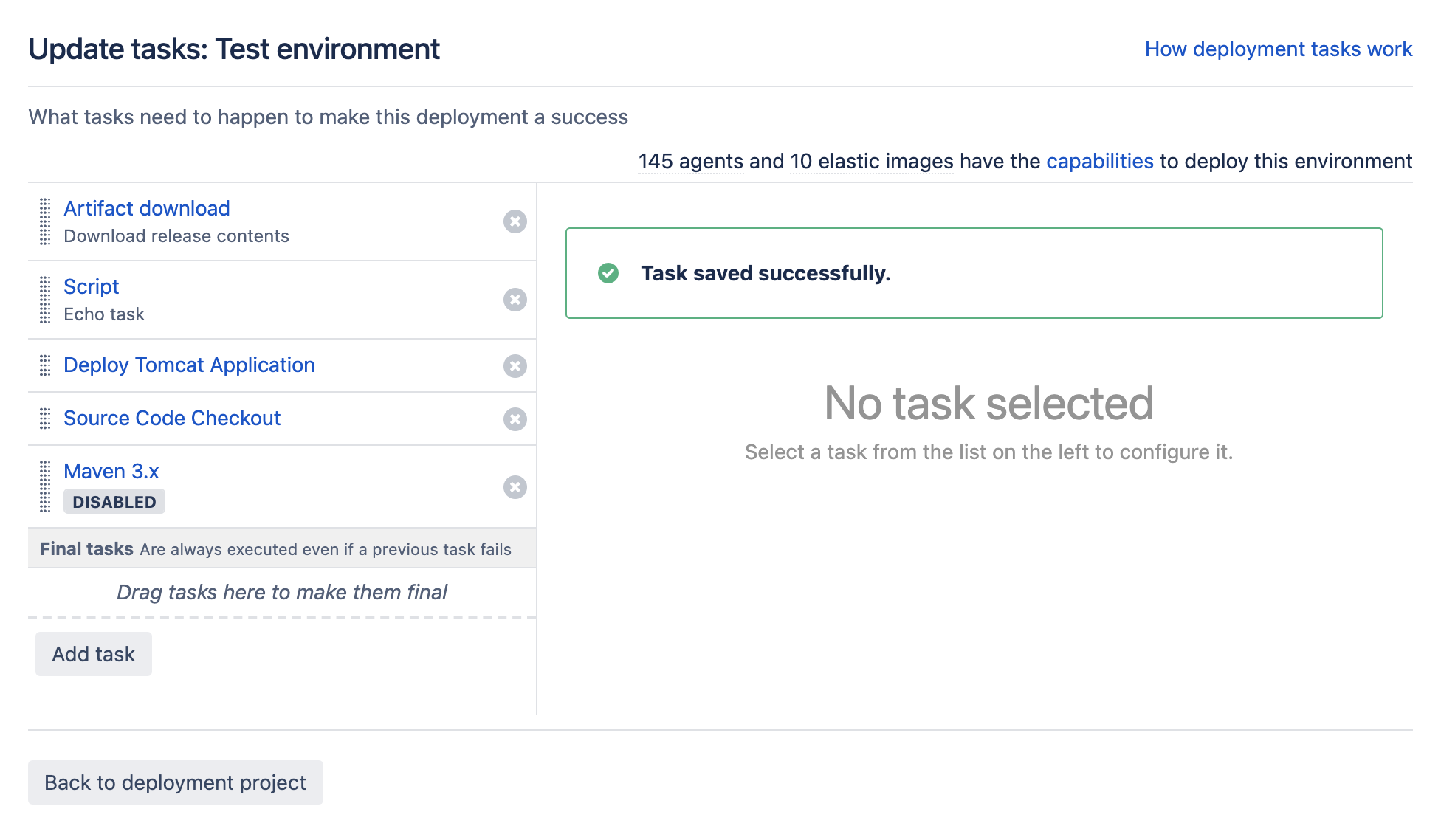A list of tasks for deployment project