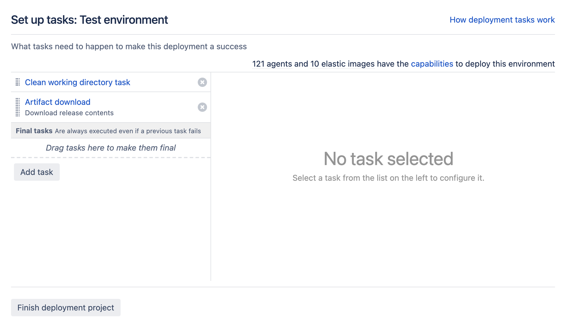 Task setup screen