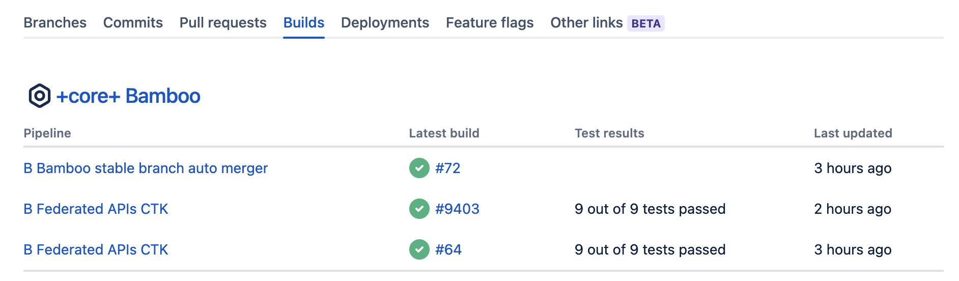 Builds tab in development panel in Jira