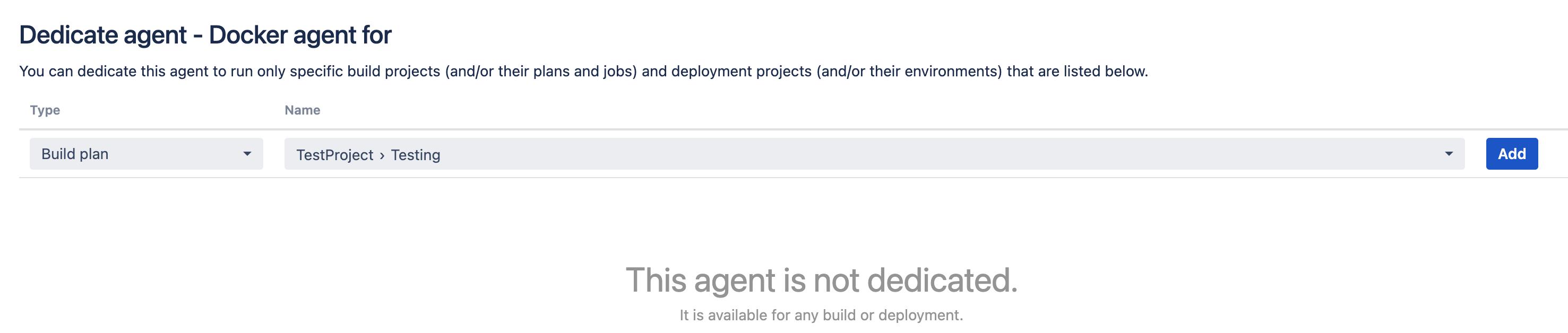 Dedicate agent screen