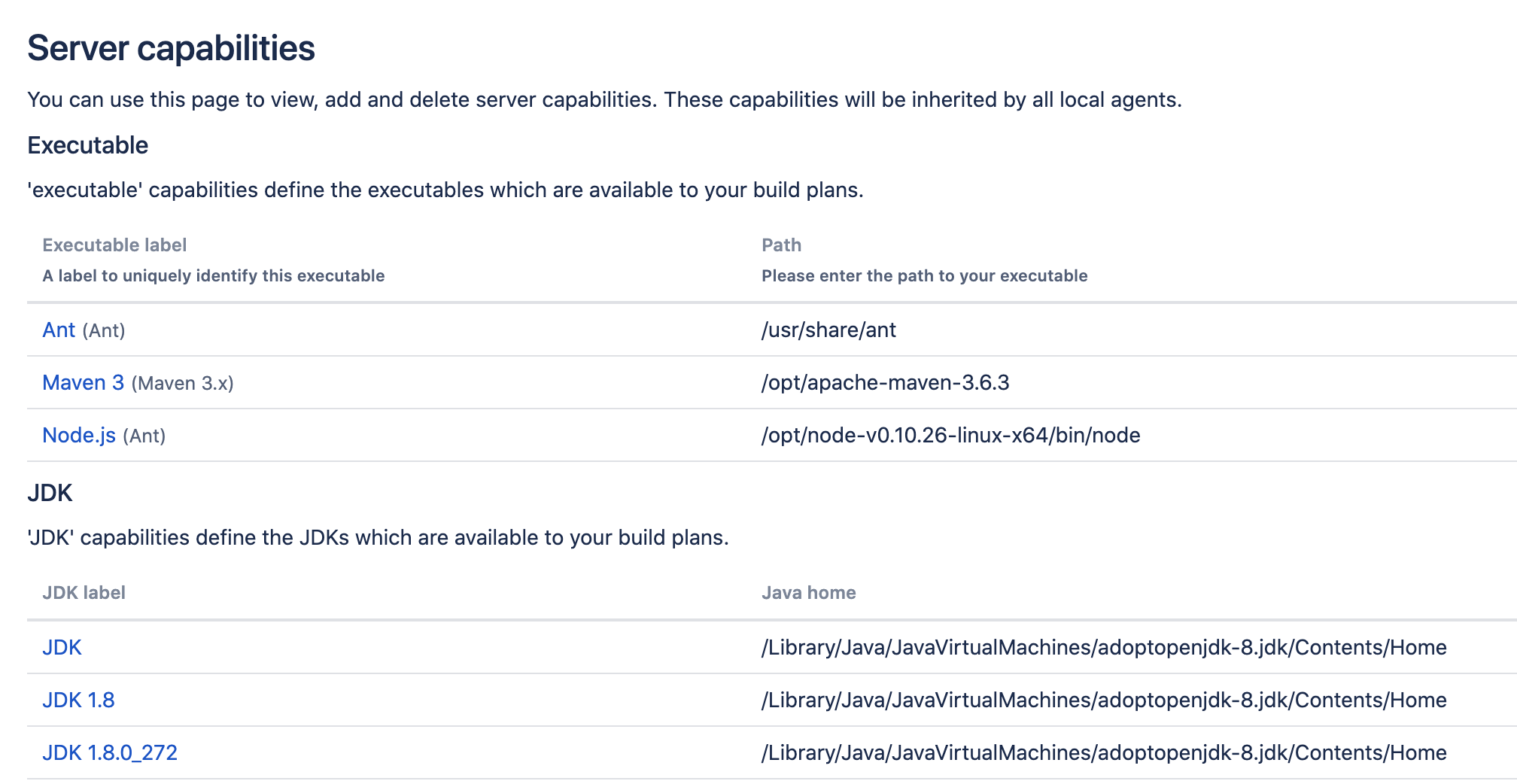 Server capabilities section in Bamboo