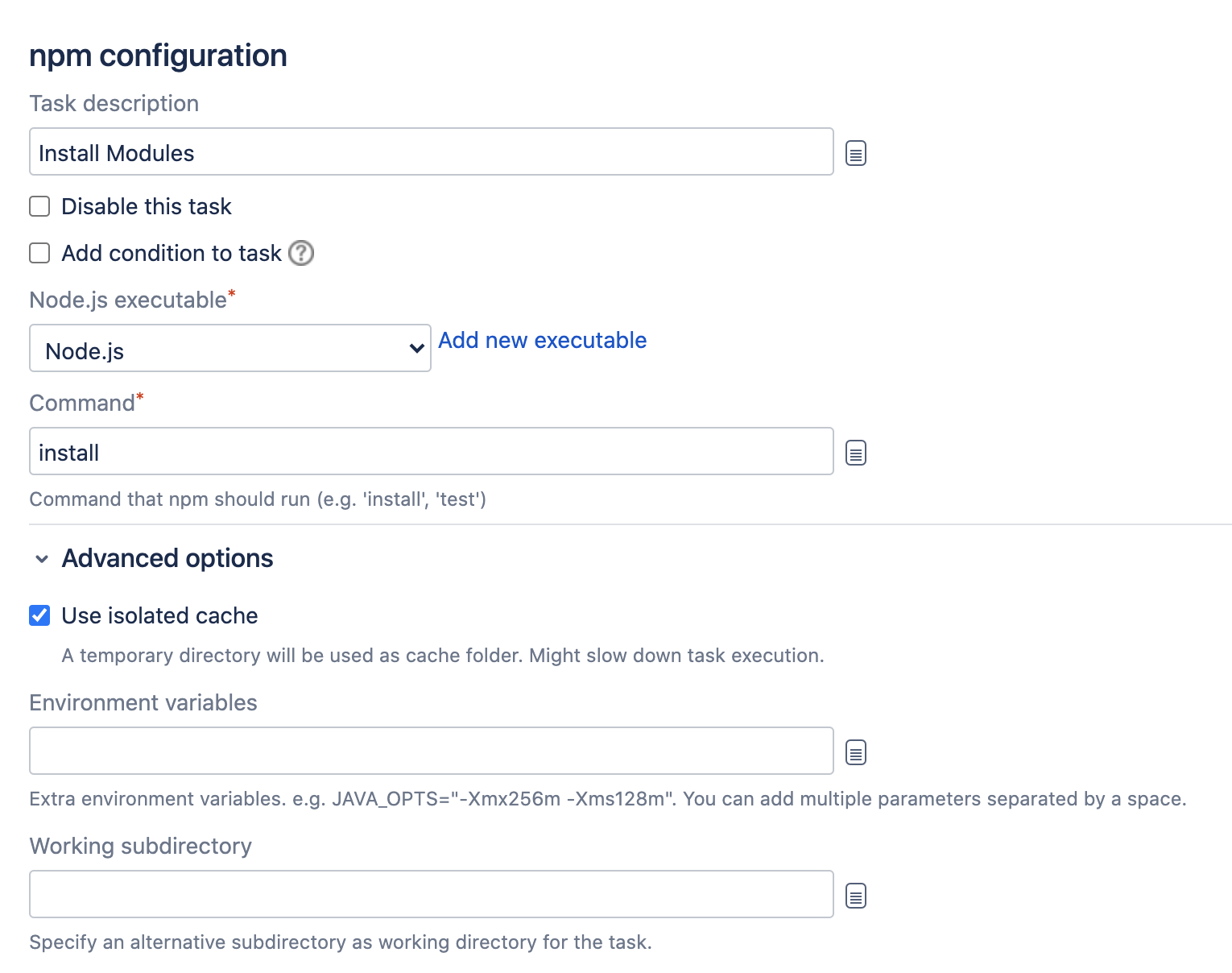 Npm task configuration screen in Bamboo