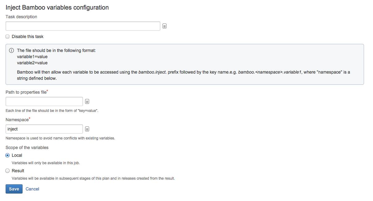 Configuring a variables task - Atlassian Documentation