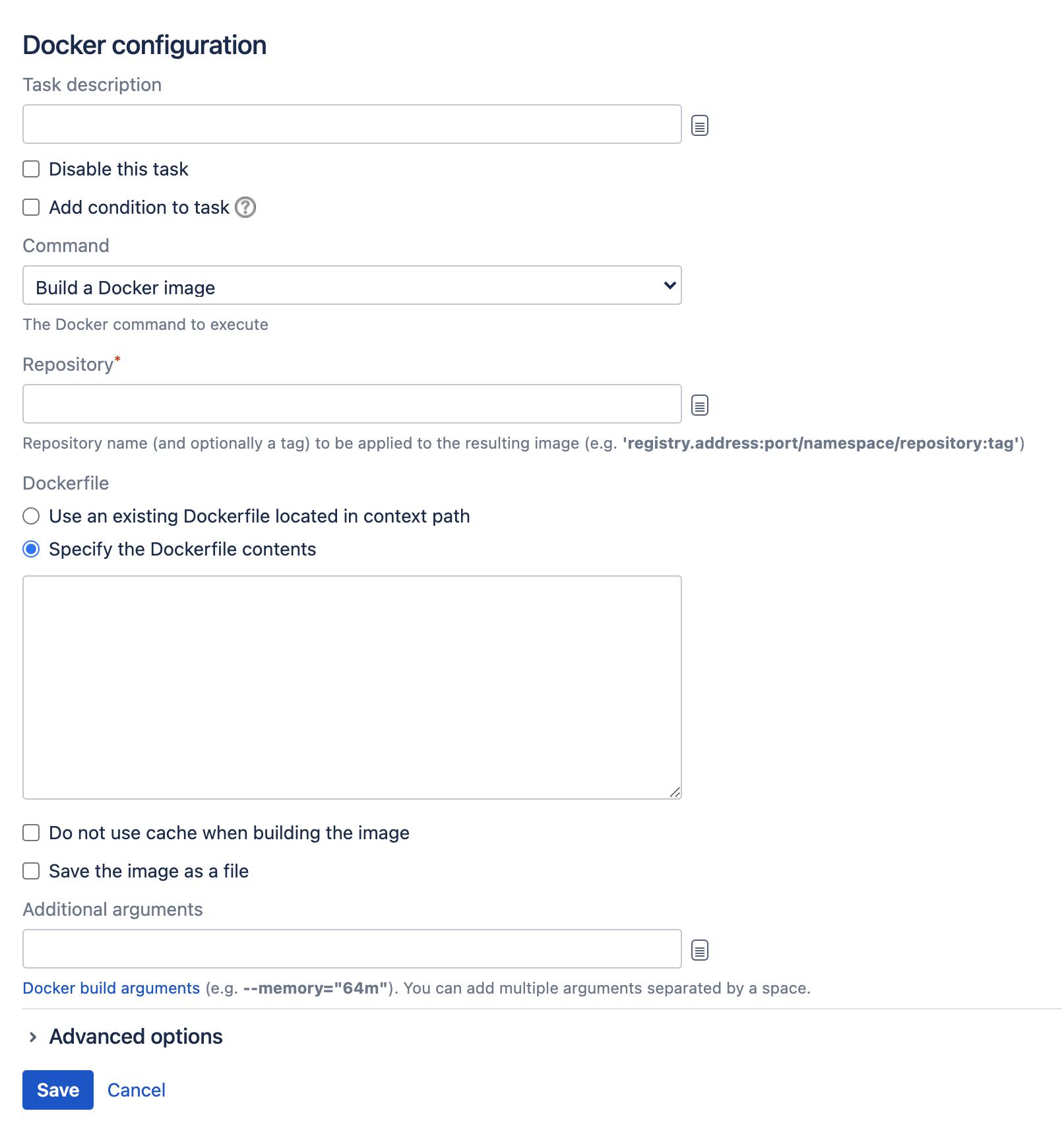 Docker task type configuration