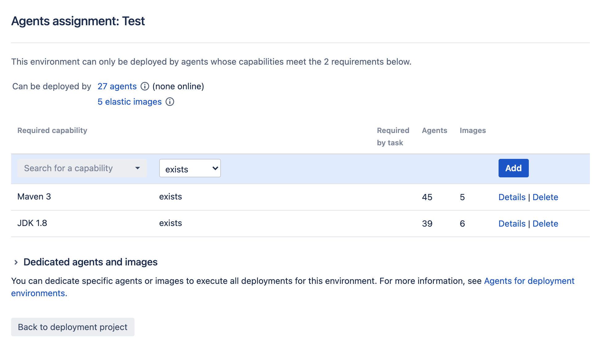 Assign agents for deployment environment screen