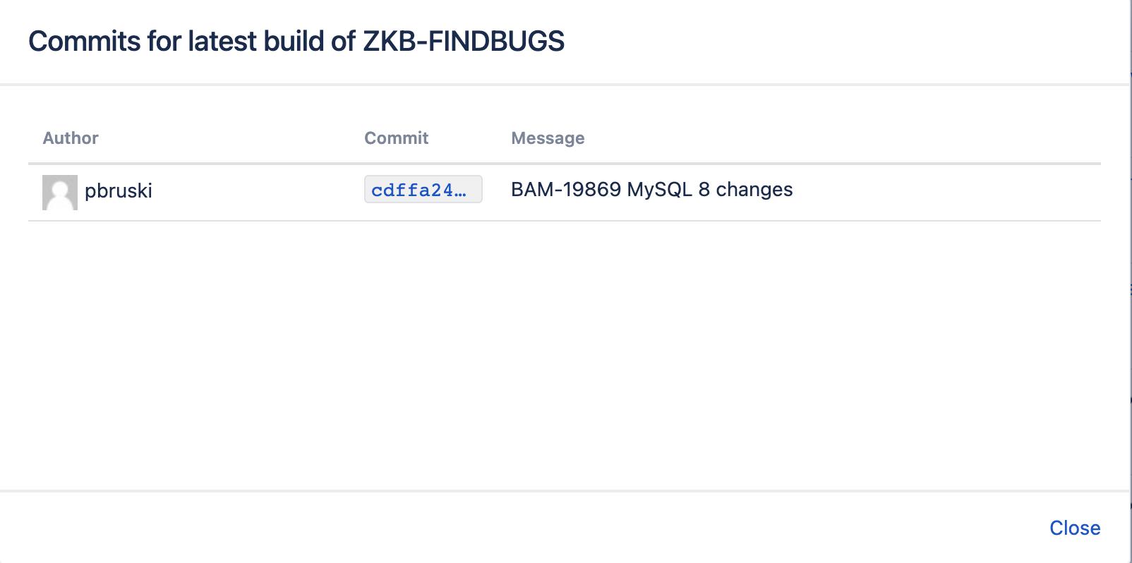 Build commits details