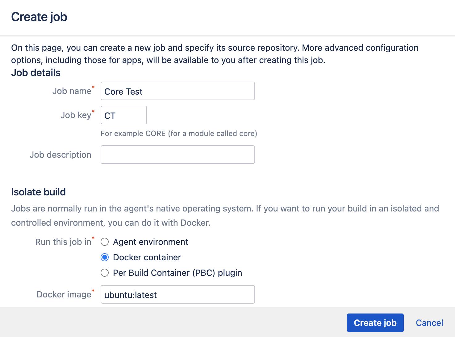 Job creation page