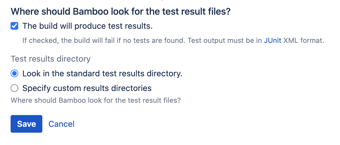 Test restults files details section in Bamboo