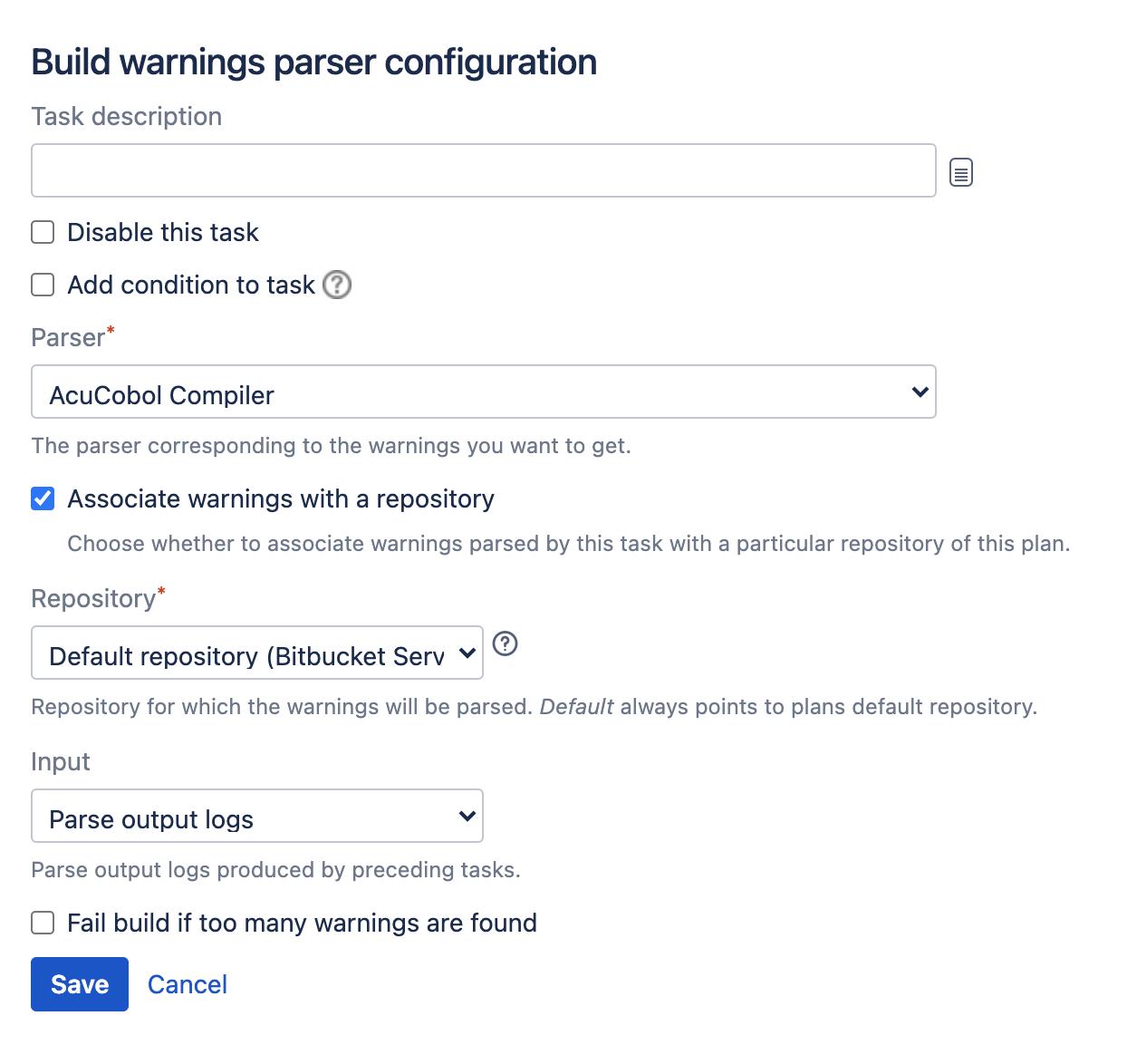 Build warnings parser task type configuration