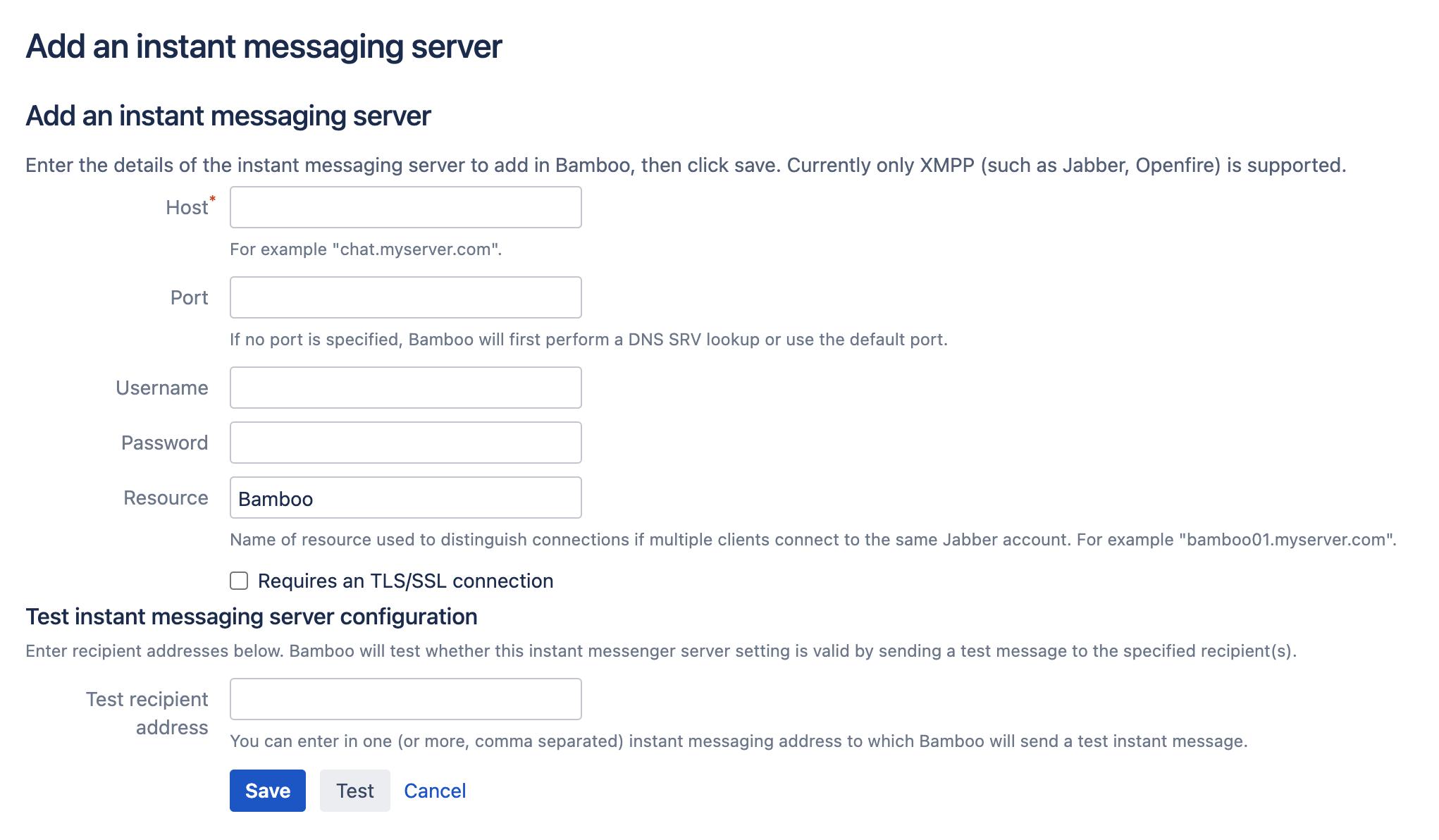 Instant messaging server configuration screen
