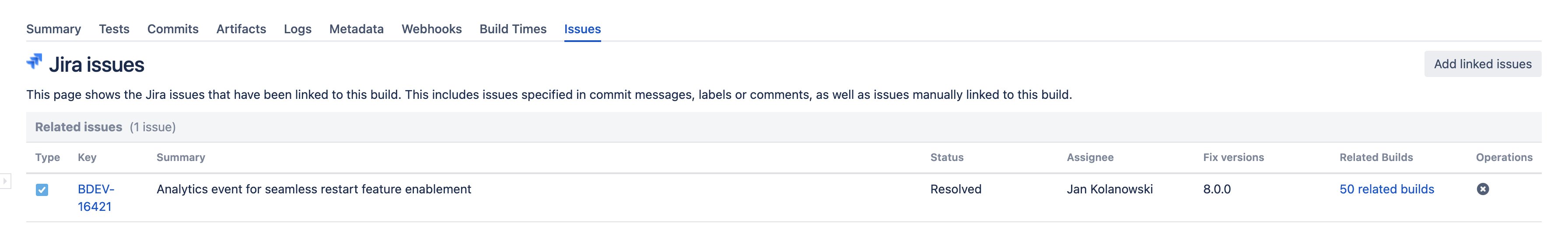 Jira issues in the Issues tab of build summary