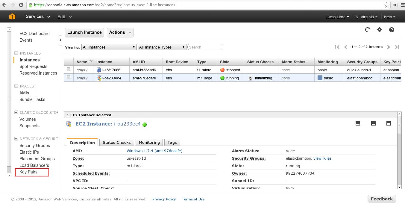 Obtaining AWS Key Pair to access Amazon Elastic Instances