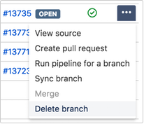 image showing delete branch as the last option on the dropdown