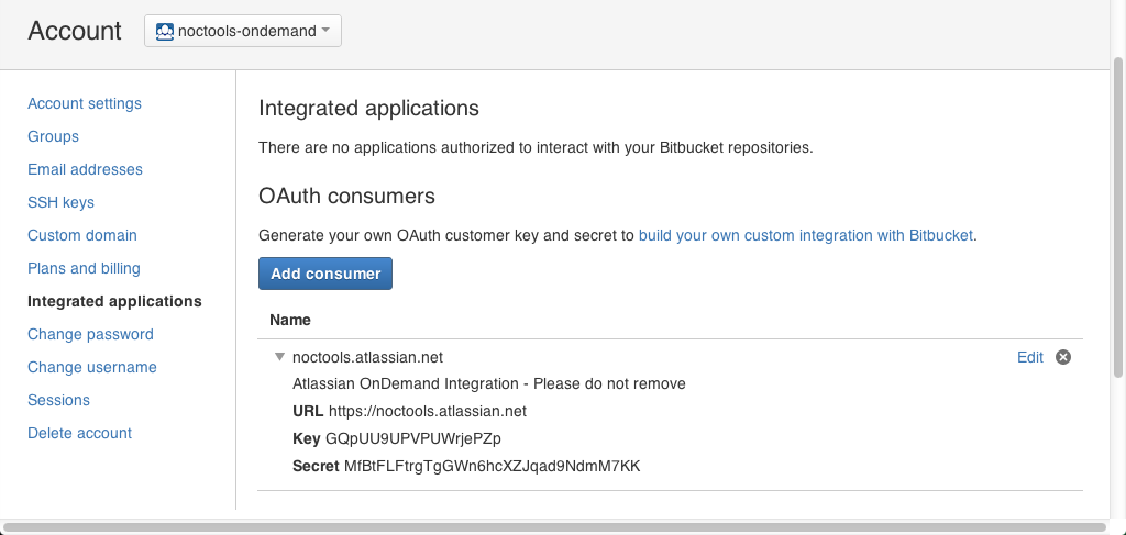 Integrated applications page with a sample OAuth consumer.