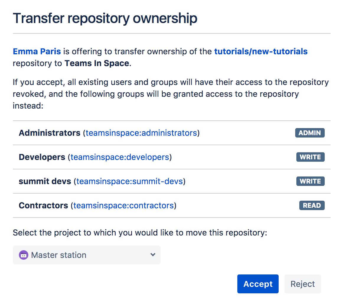 Transfer repository ownership - Atlassian Documentation