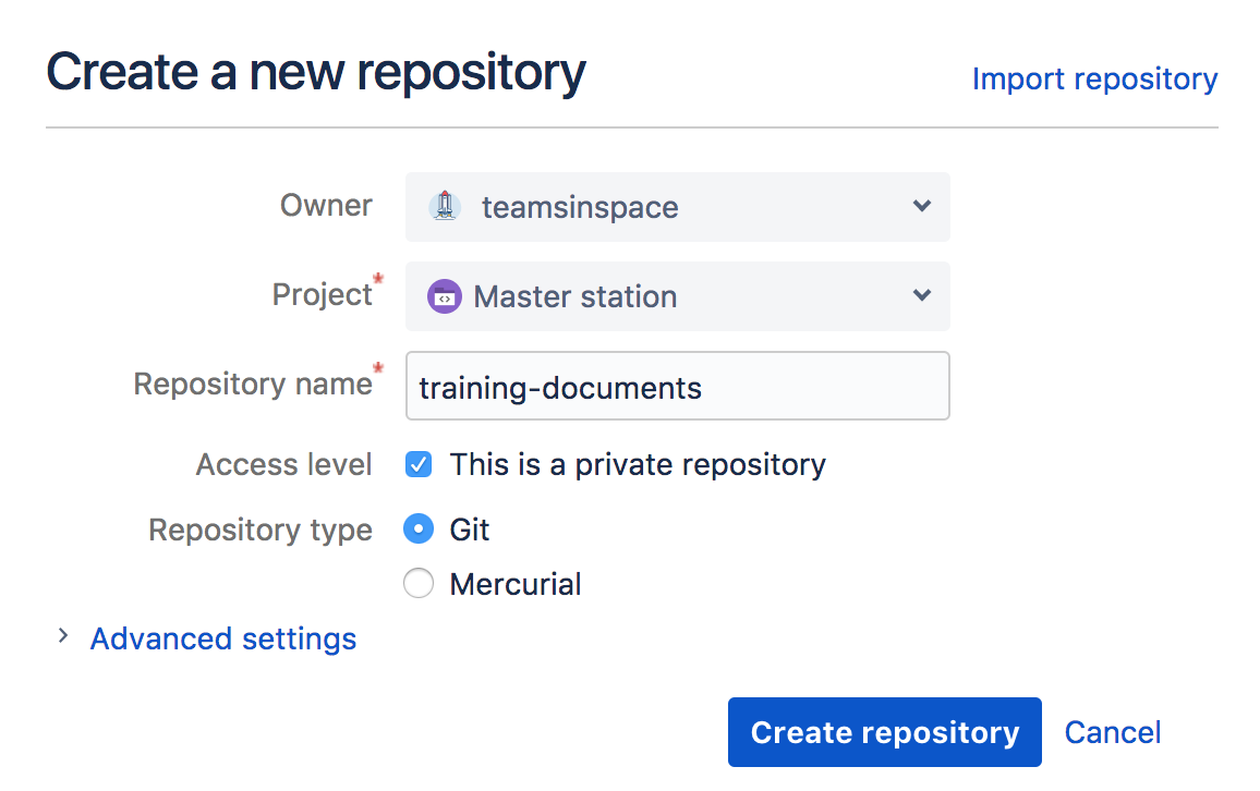 Create and grant access to team repositories - Atlassian