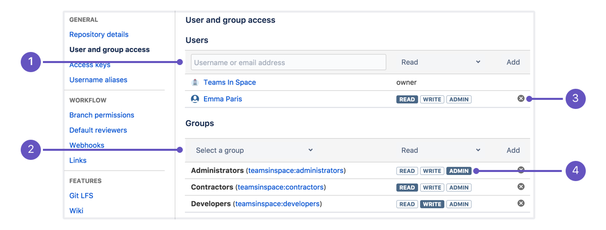 Grant repository access to users and groups - Atlassian