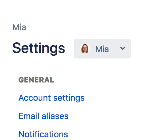 Picture of settings dropdown