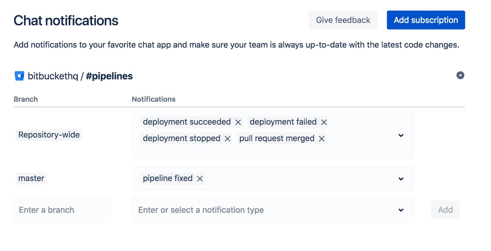 notification selection screen