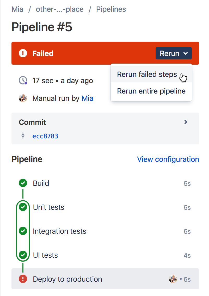 パイプライン ステップを表示する GUI のイメージ