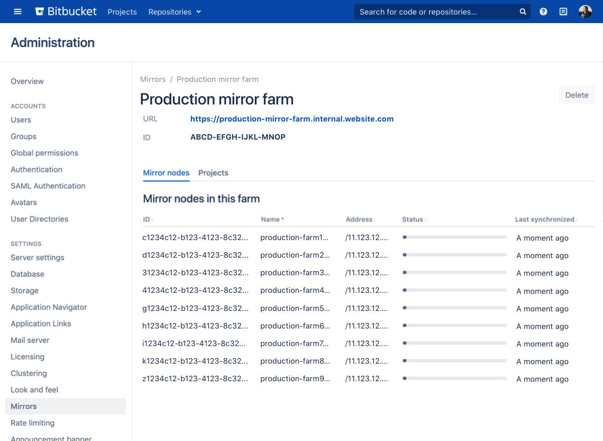 Set Up And Configure A Mirror Farm Bitbucket Data Center And Server 7 10 Atlassian Documentation