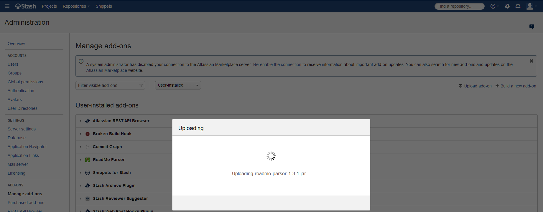 Updating add-ons by file upload hangs using UPM - Atlassian