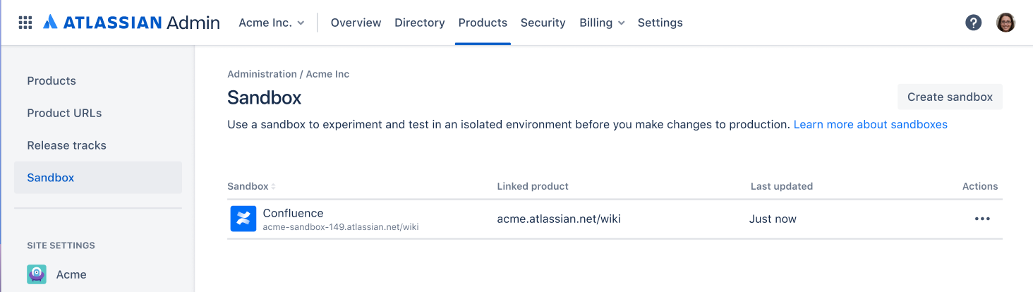 Admin overview displaying the sandbox page under the products menu item in the top navigation