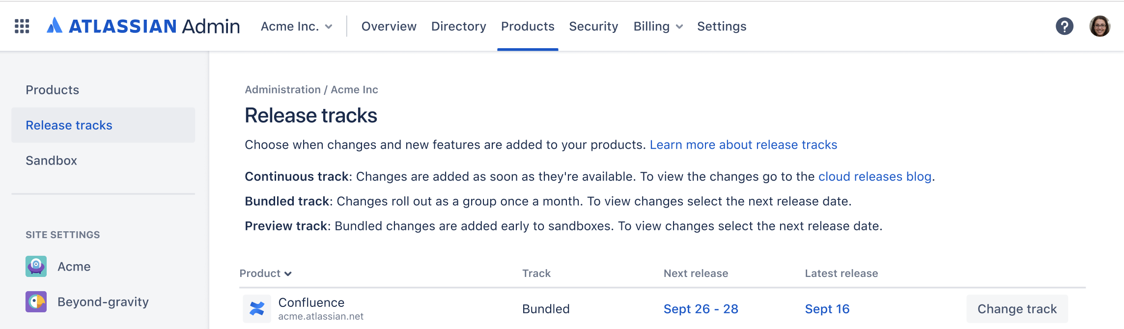 Release tracks page, under the Products menu on the top admin navigation