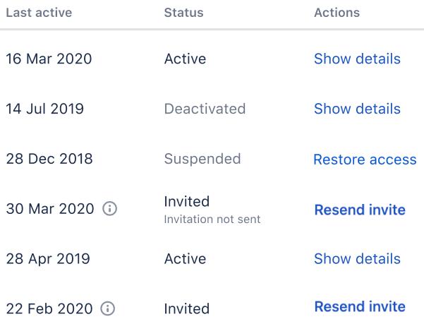 Invitation statuses