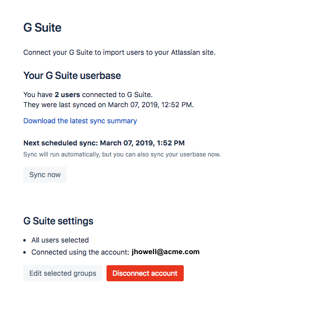Enable or disable G Suite integration - Atlassian Documentation