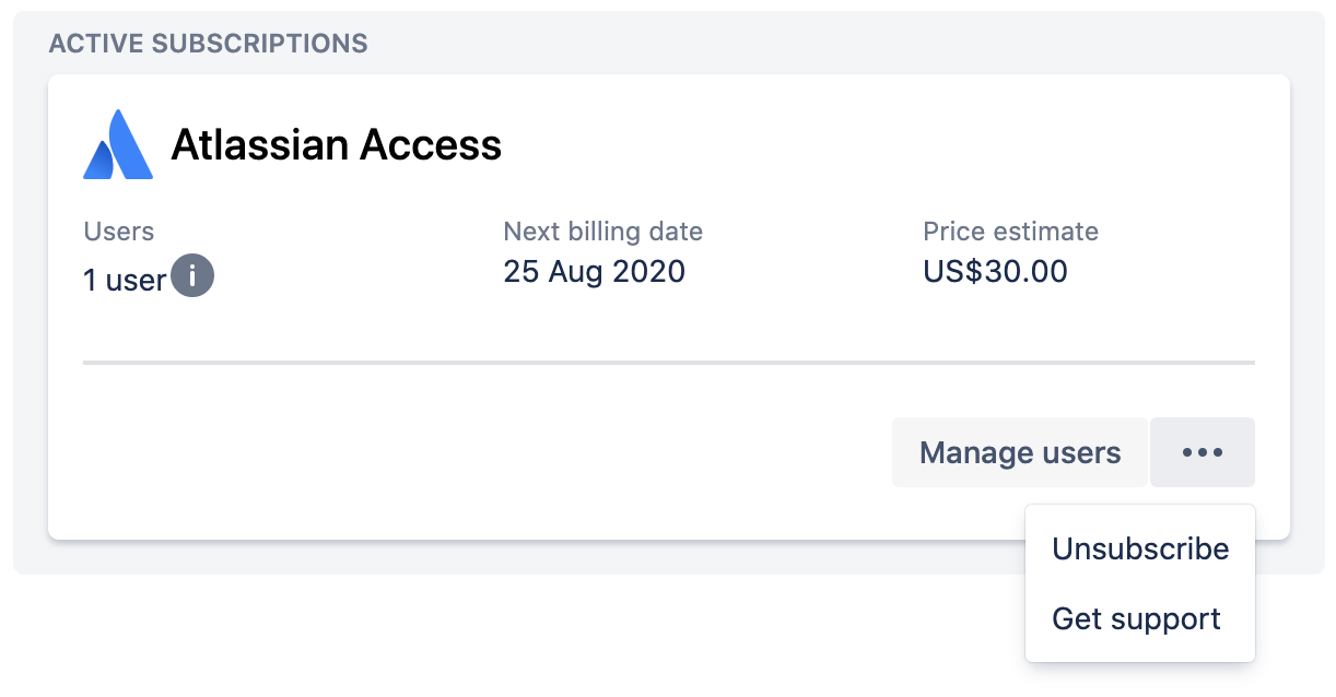 Screenshot of Atlassian access card in Manage subscriptions with the drop down menu displaying unsubscribe