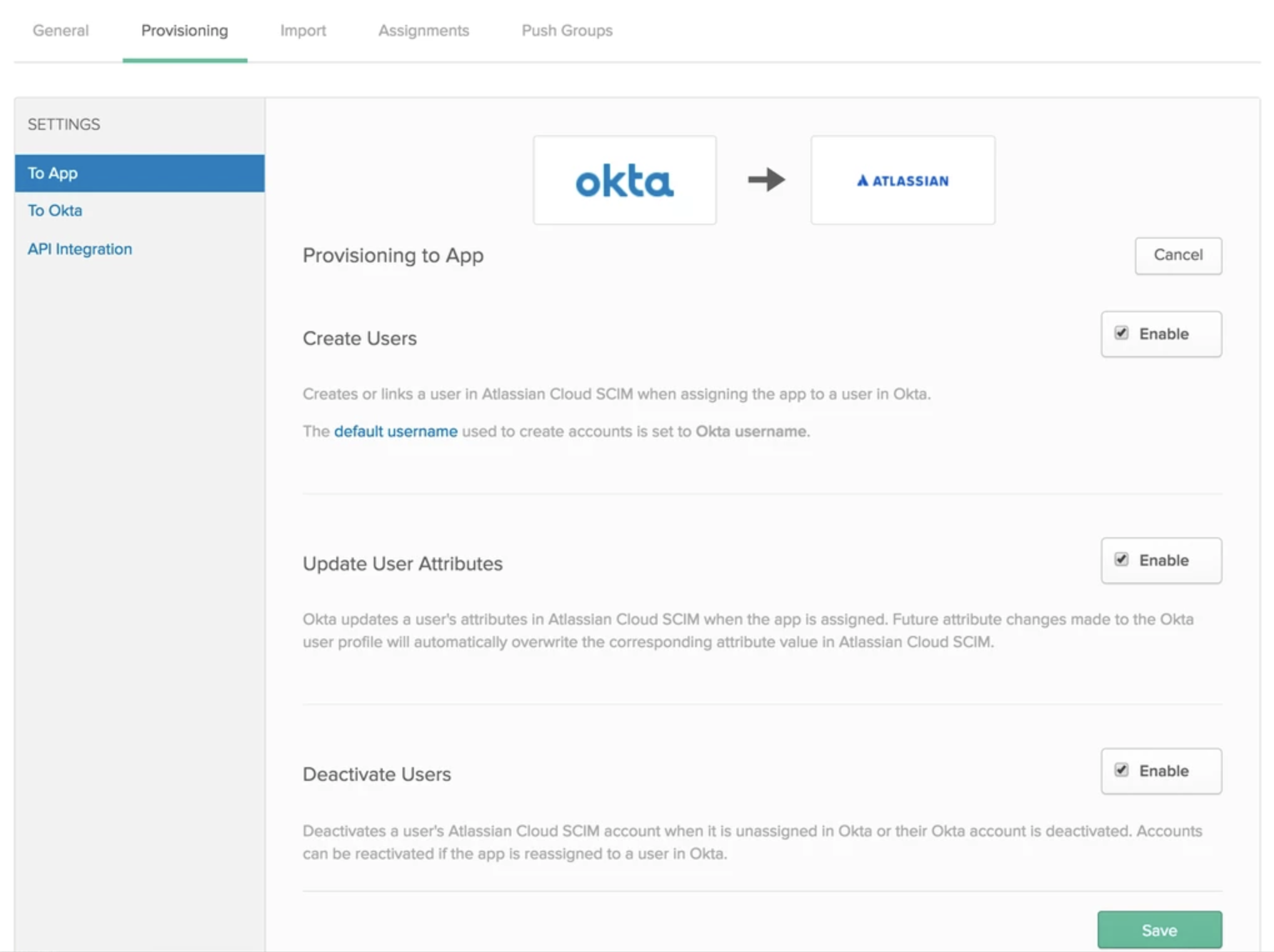 Configure user provisioning with Okta - Atlassian Documentation