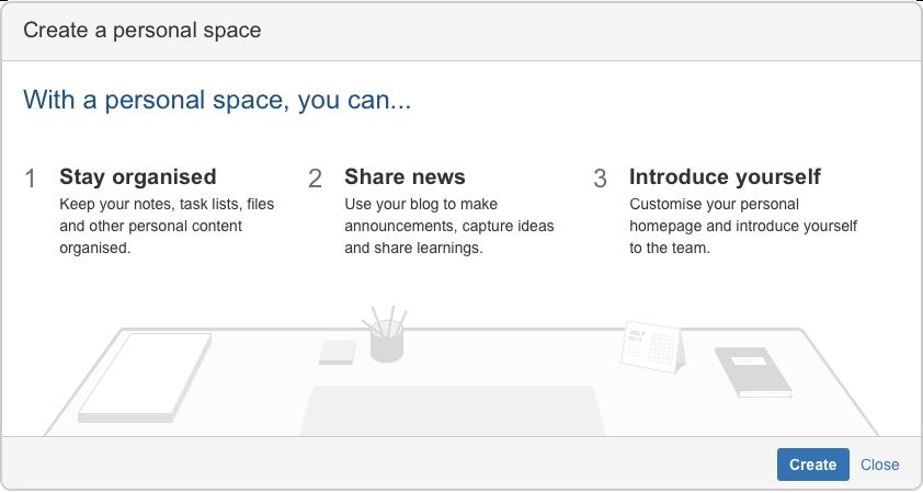 create a personal space atlassian documentation