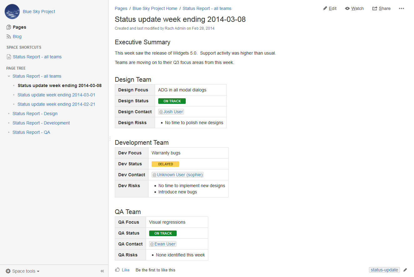 Create a blueprint style report atlassian documentation for Confluence create page template