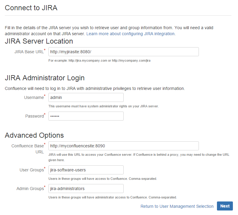 Configuring JIRA Integration in the Setup Wizard - Atlassian