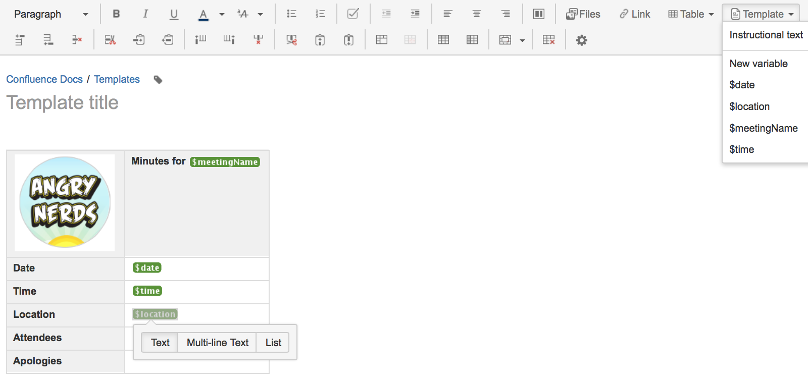 create a template atlassian documentation