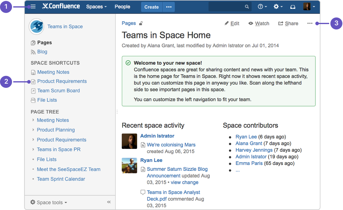 Create and edit pages atlassian documentation confluence header create blank pages pages from templates and visit spaces or your profile pronofoot35fo Gallery