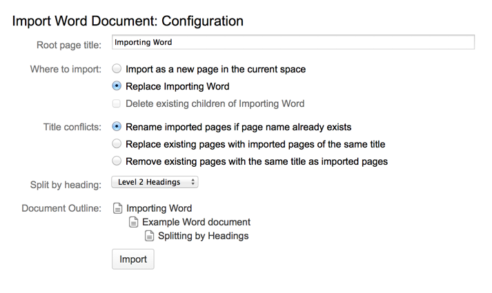 Import a Word Document into Confluence - Atlassian Documentation