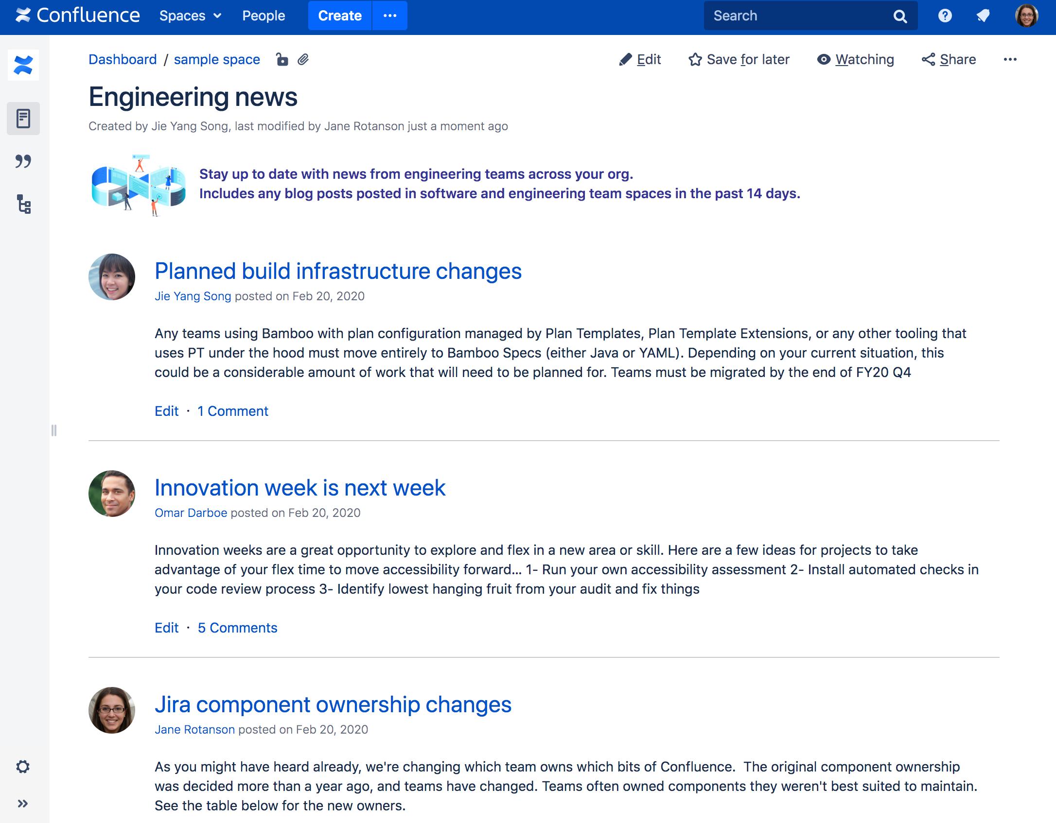 ページでのブログ投稿マクロのスクリーンショット。3 つのブログ投稿が一覧表示され、クリック可能なタイトルの下にブログの コンテンツの短い抜粋があります。
