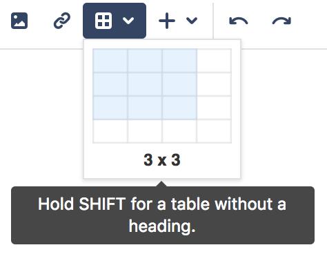 3 × 3 の表を示す、表のドロップダウン メニューのスクリーンショット