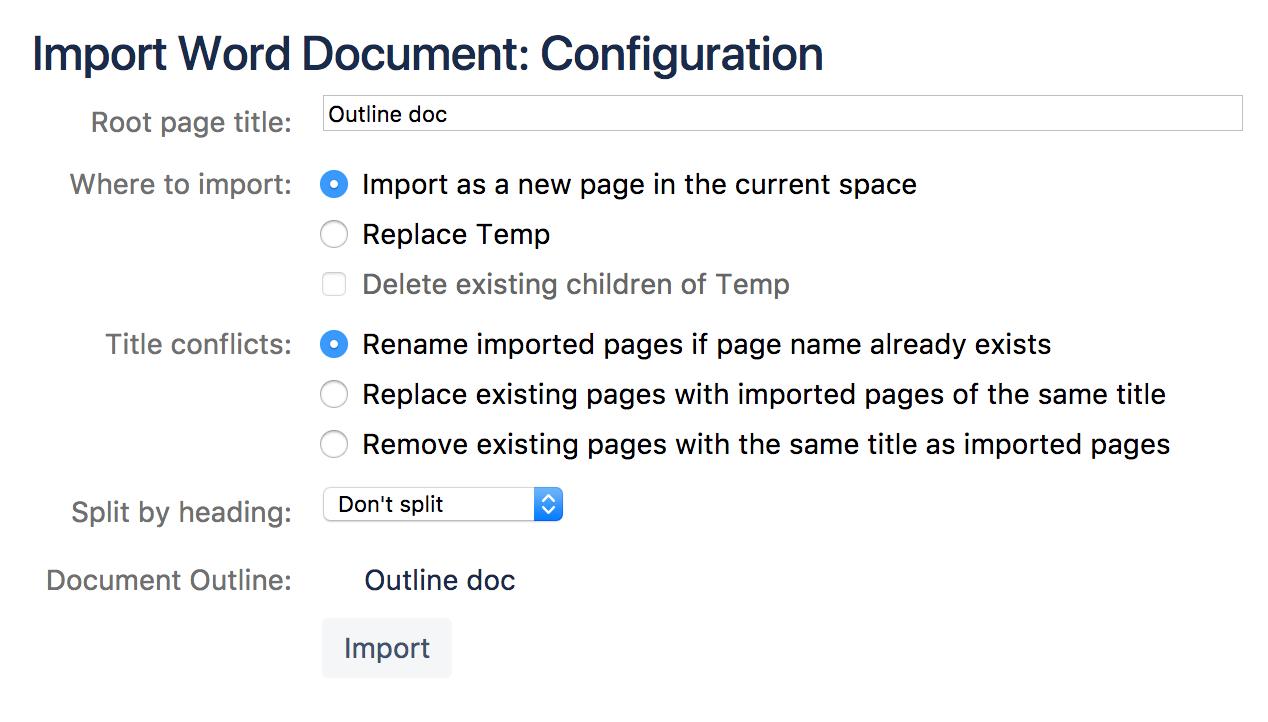 Import a Word Document into Confluence - Atlassian Documentation