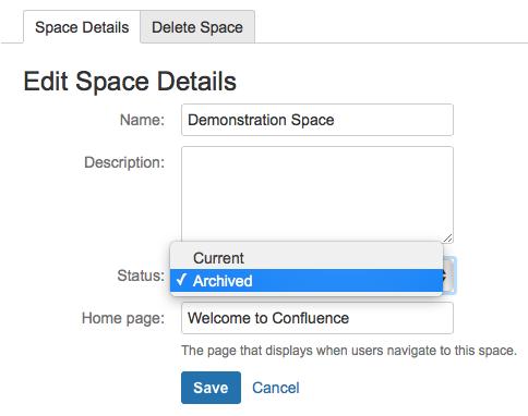 Confluence edit space details