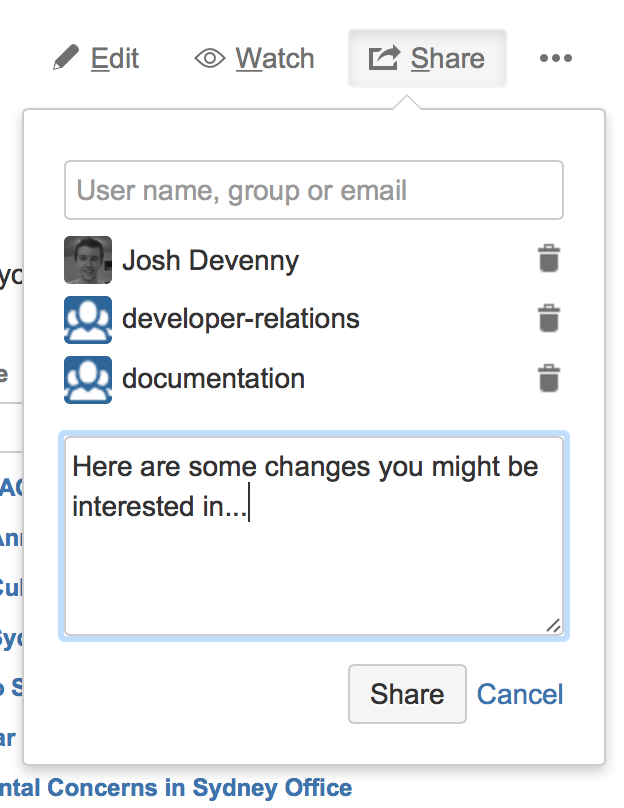 Confluence share interface